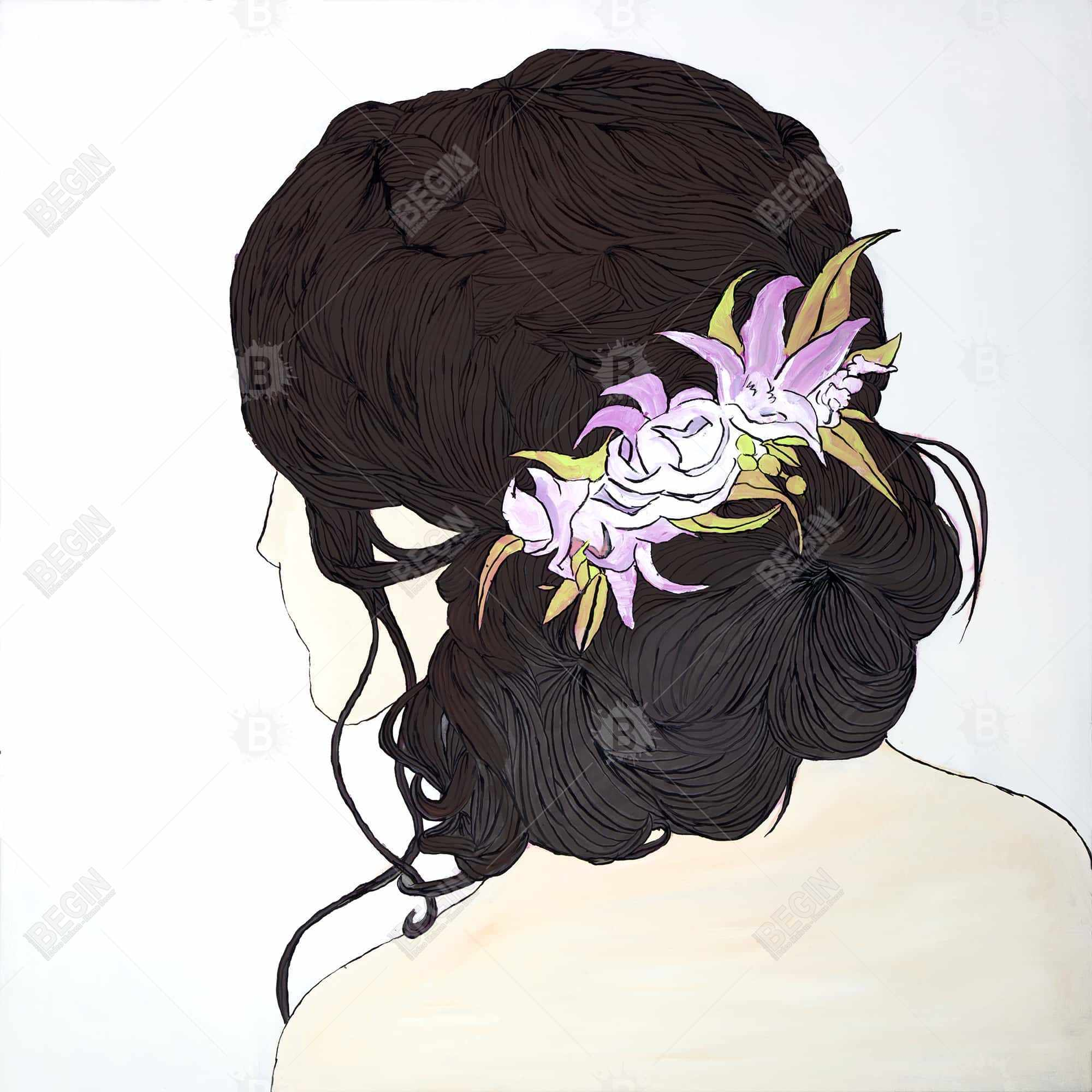 Woman from behind with pink flowers