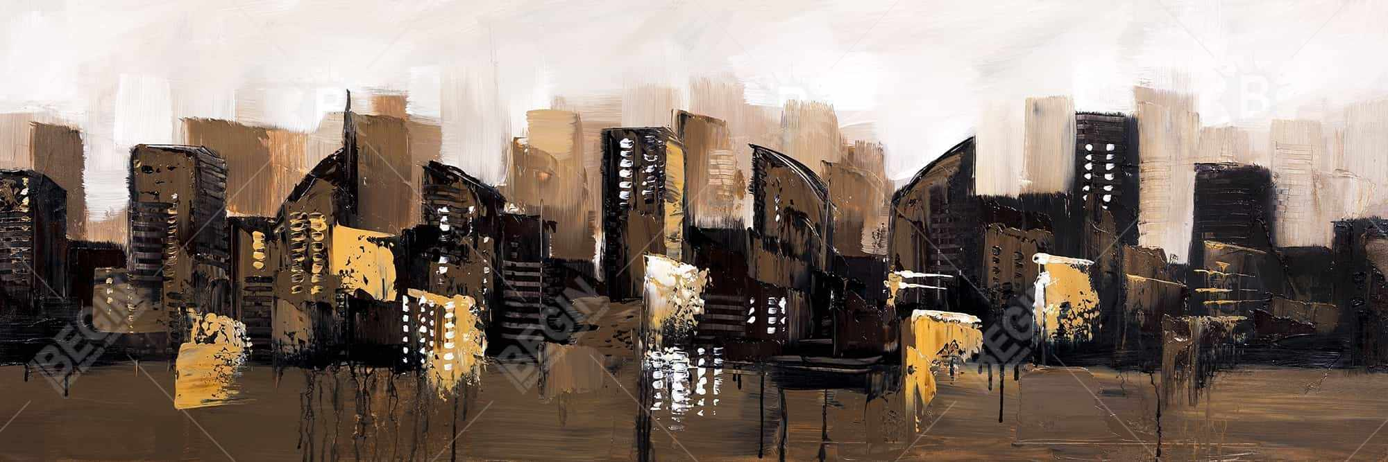 Brown abstract cityscape