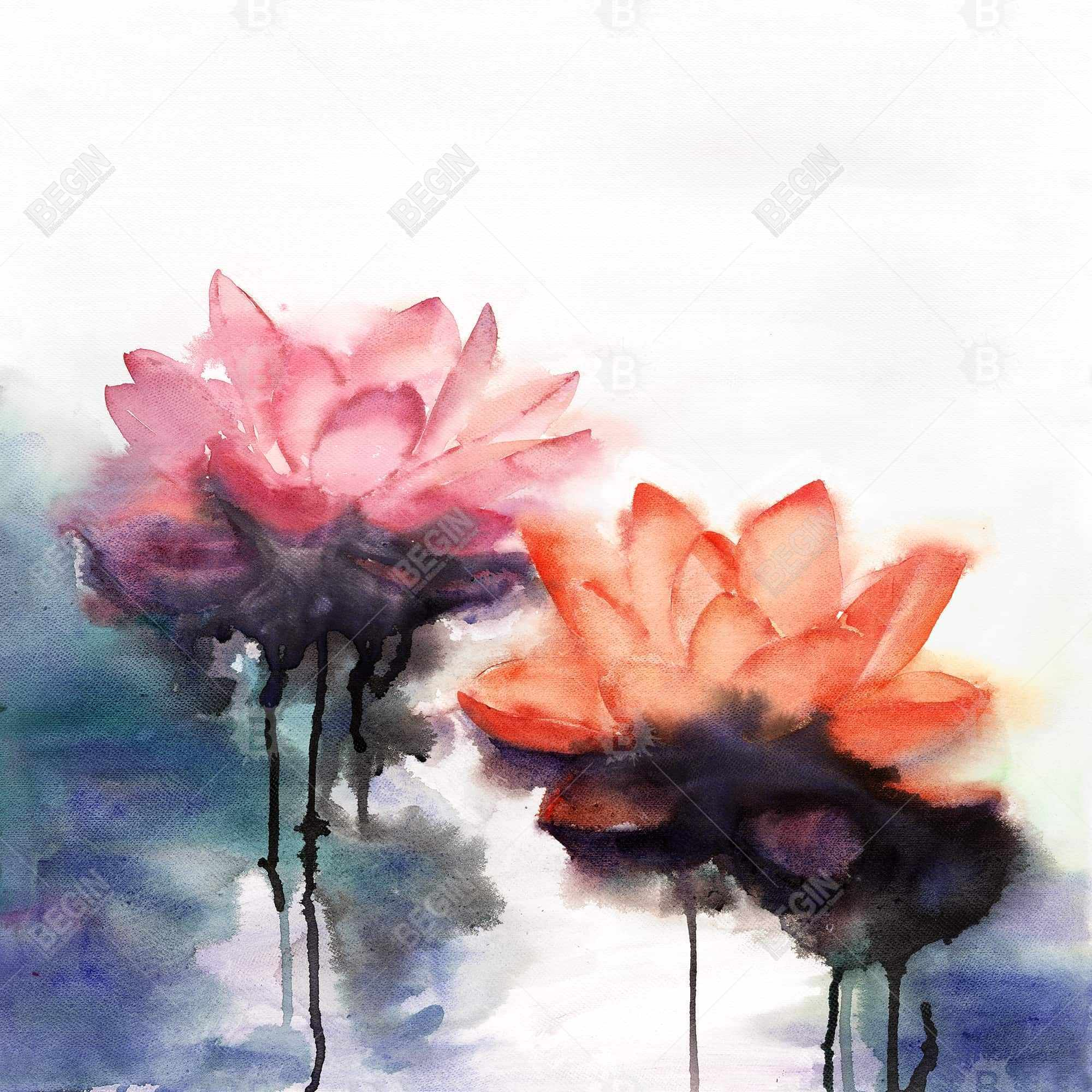 Watercolor lotus flowers