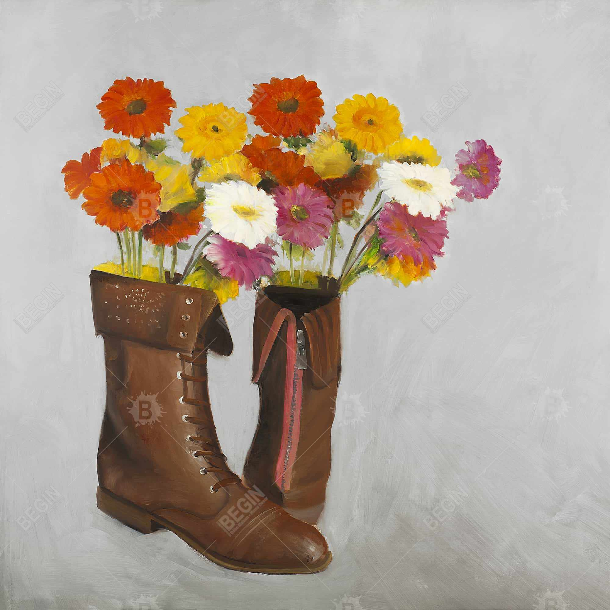 Boots with daisies flowers