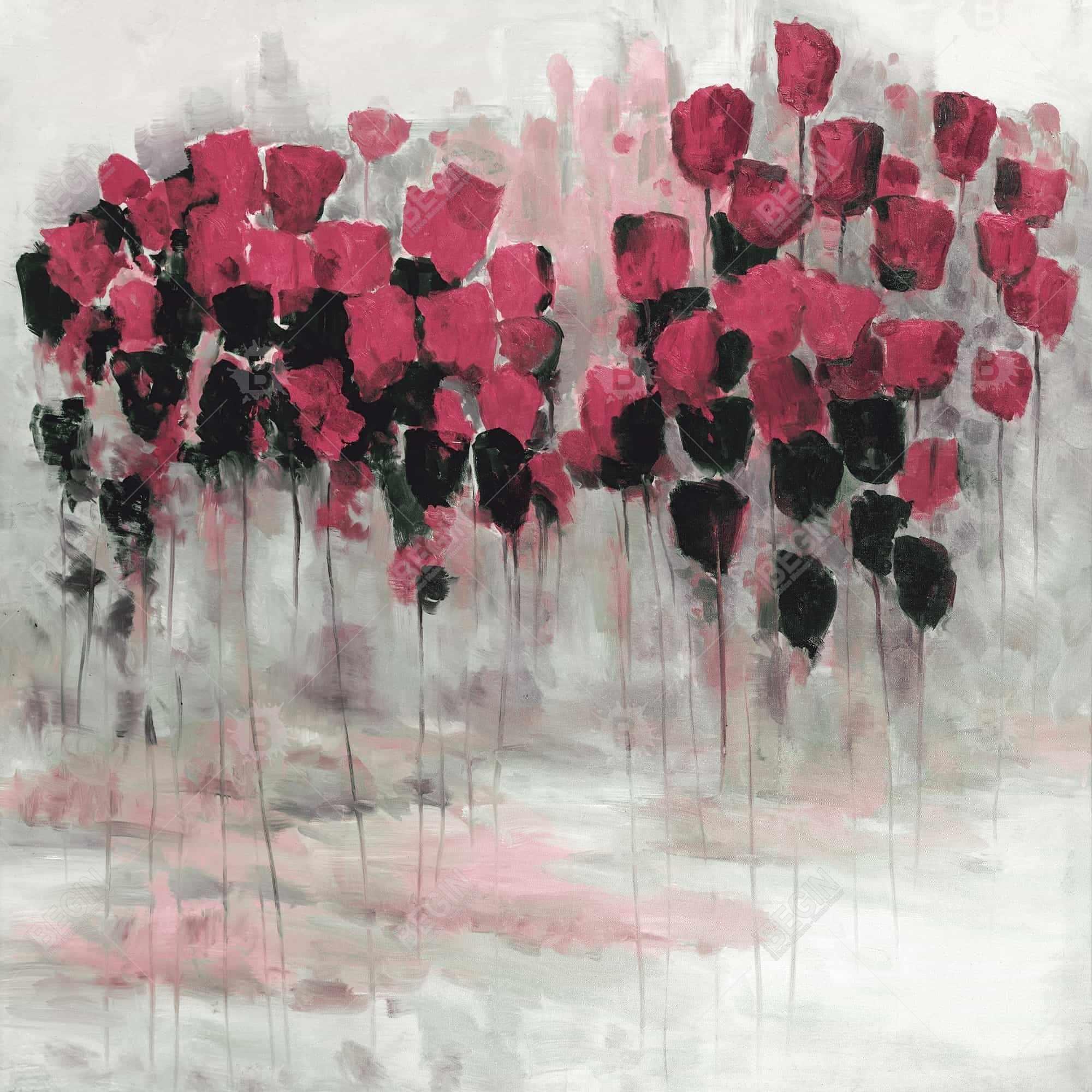 Pink black flowers field