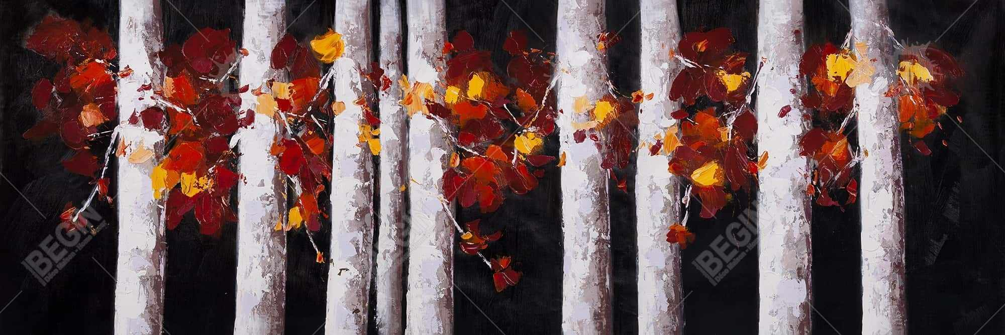 White trees with orange leaves