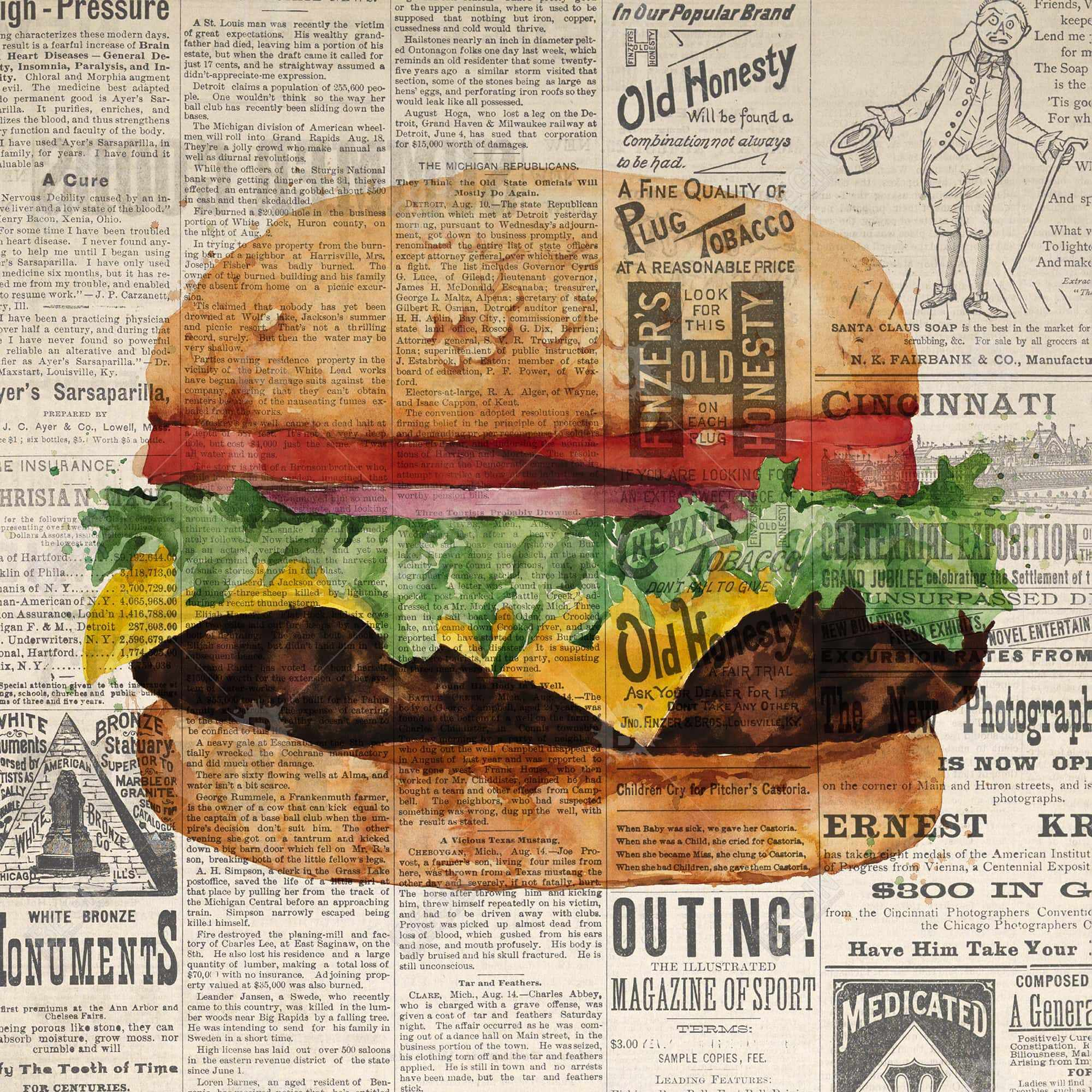 Vintage style all dressed cheeseburger