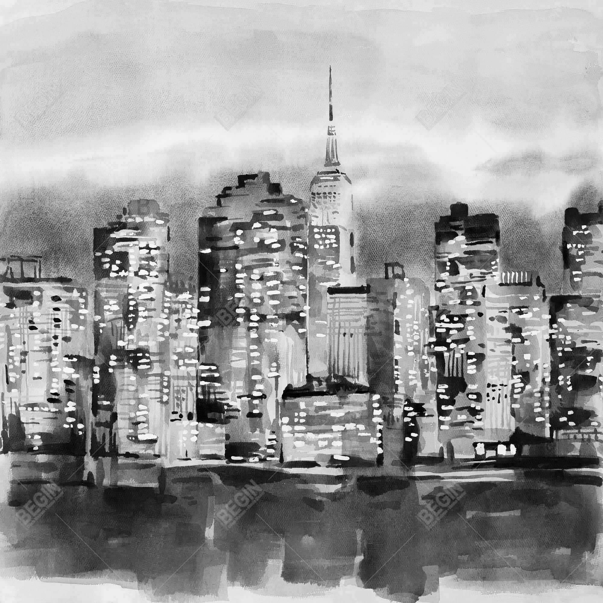 Buildings in a watercolor cityscape