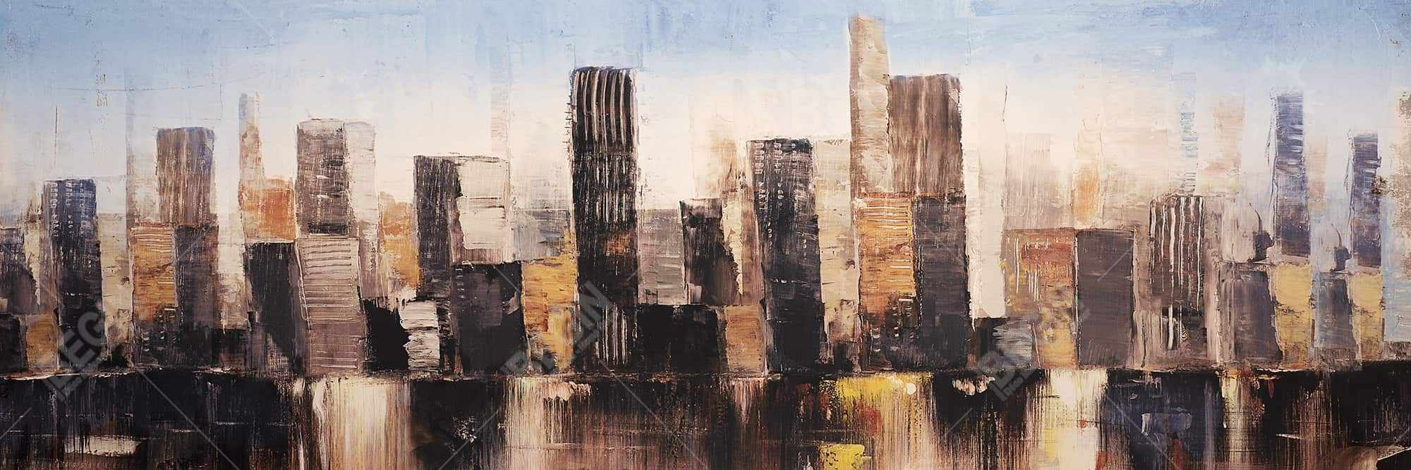 Striped abstract buildings