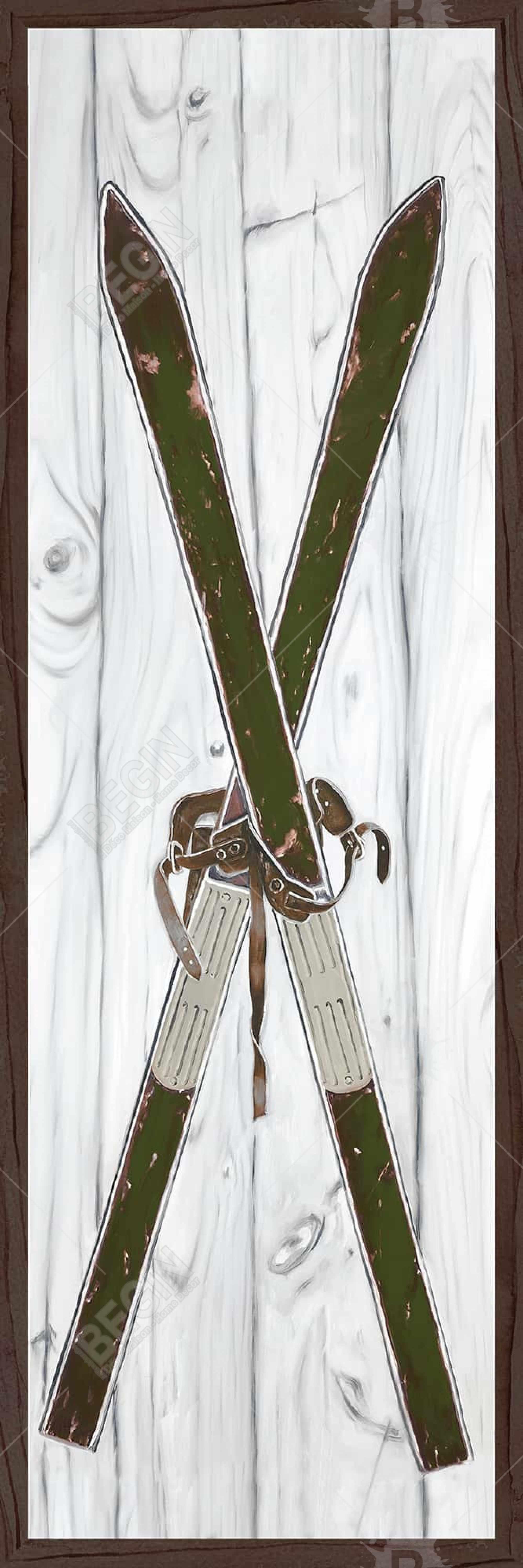 Green vintage skis