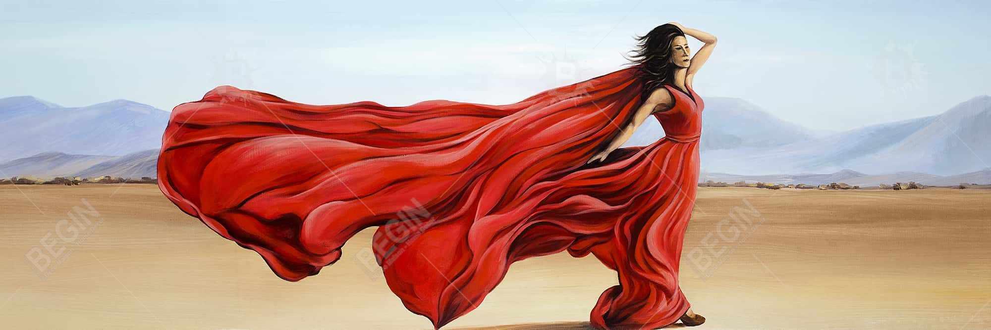 Red dress in the desert