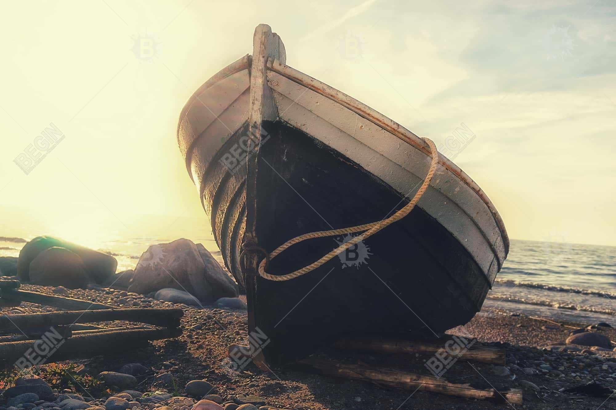 Rowboat at the water's edge