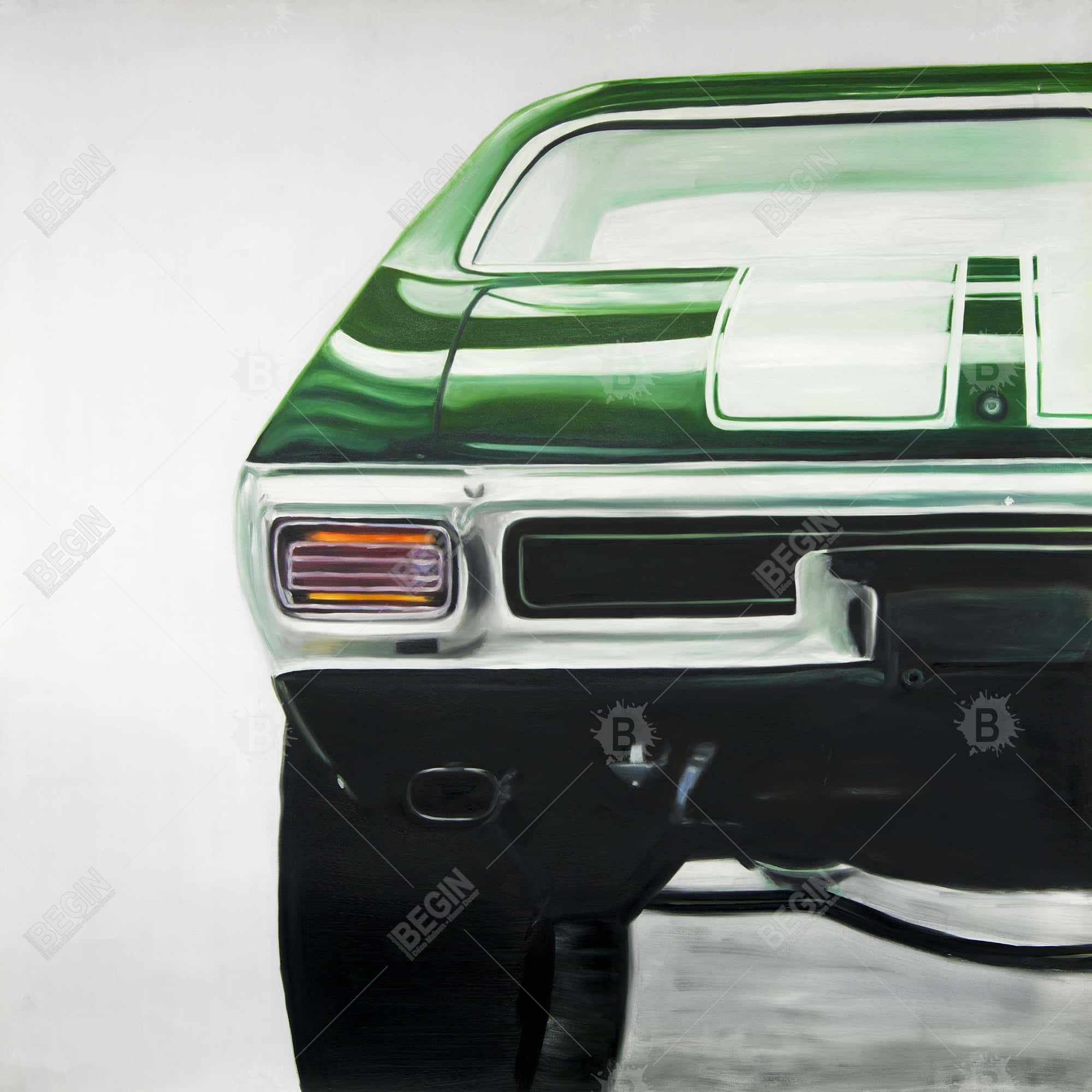 Classic dark green car