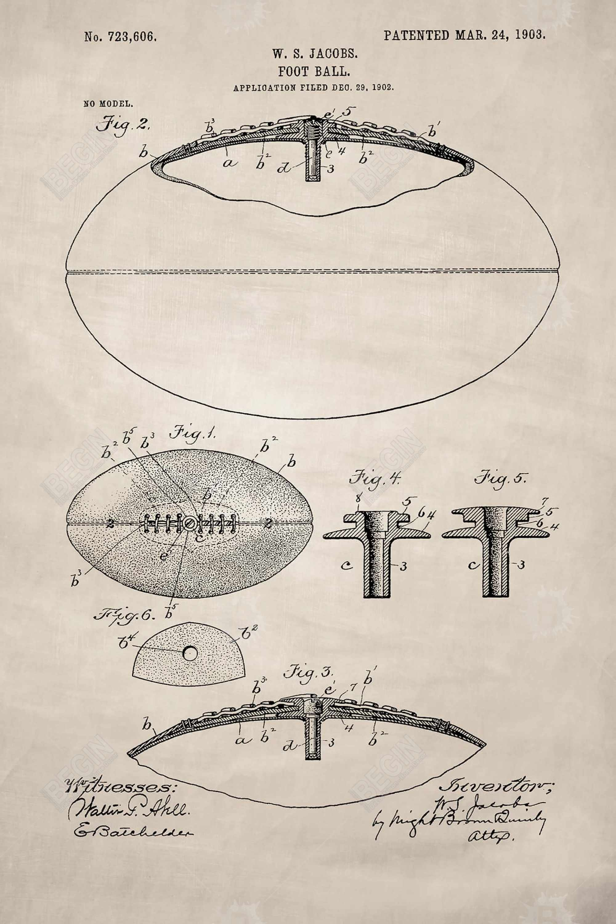 Beige blueprint of a foot ball