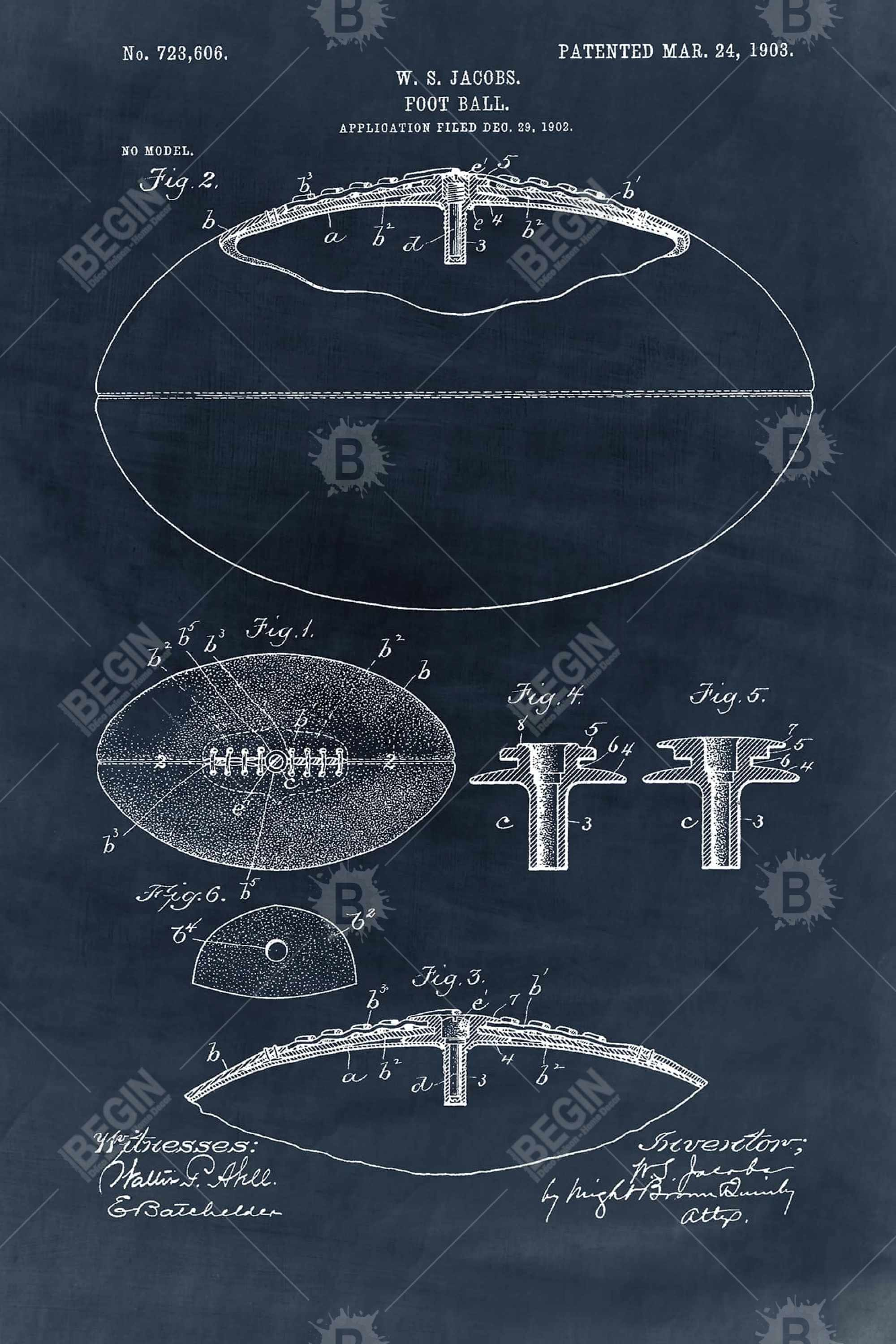 Blue blueprint of a foot ball