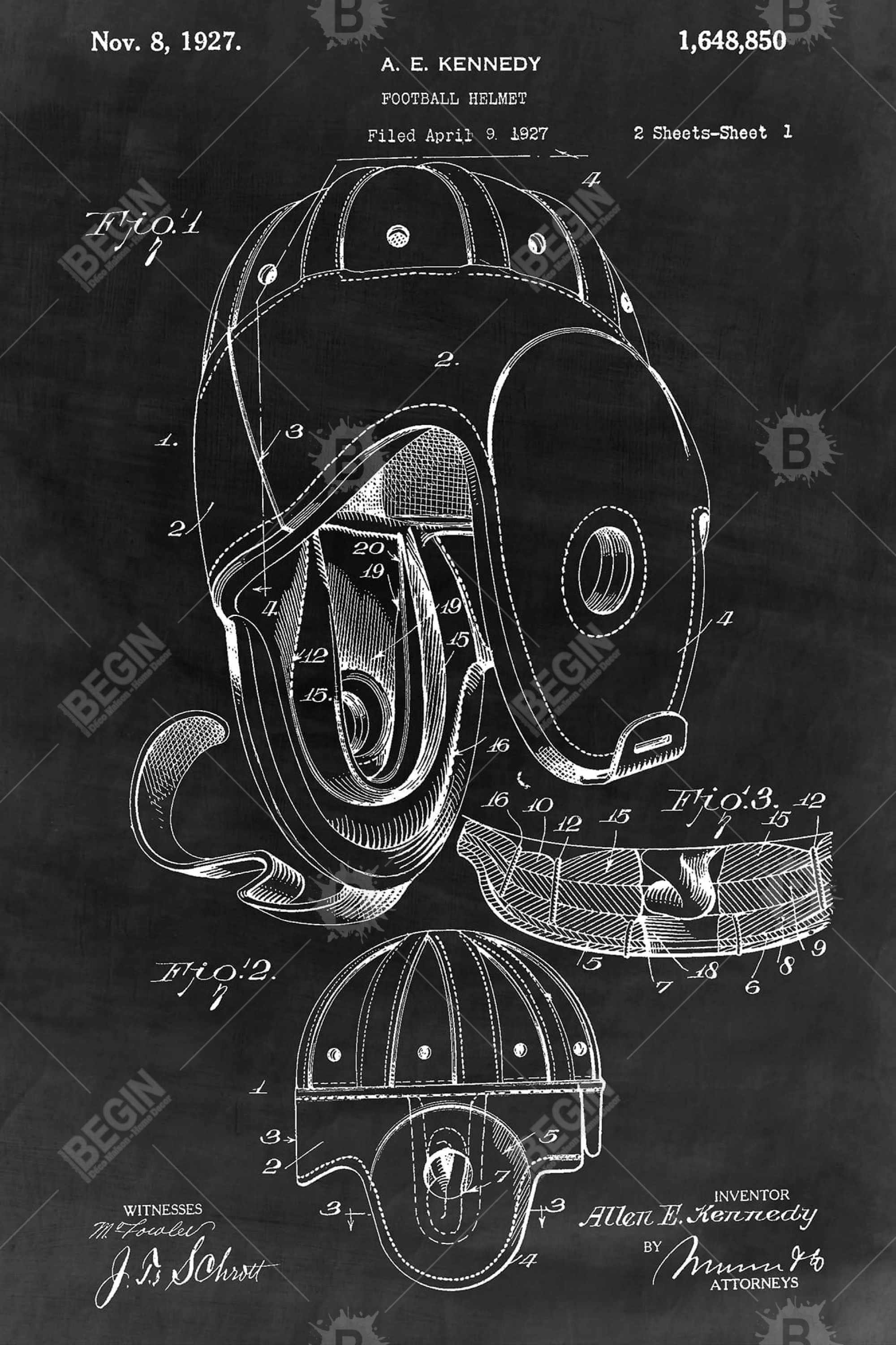 Black blueprint of a football helmet
