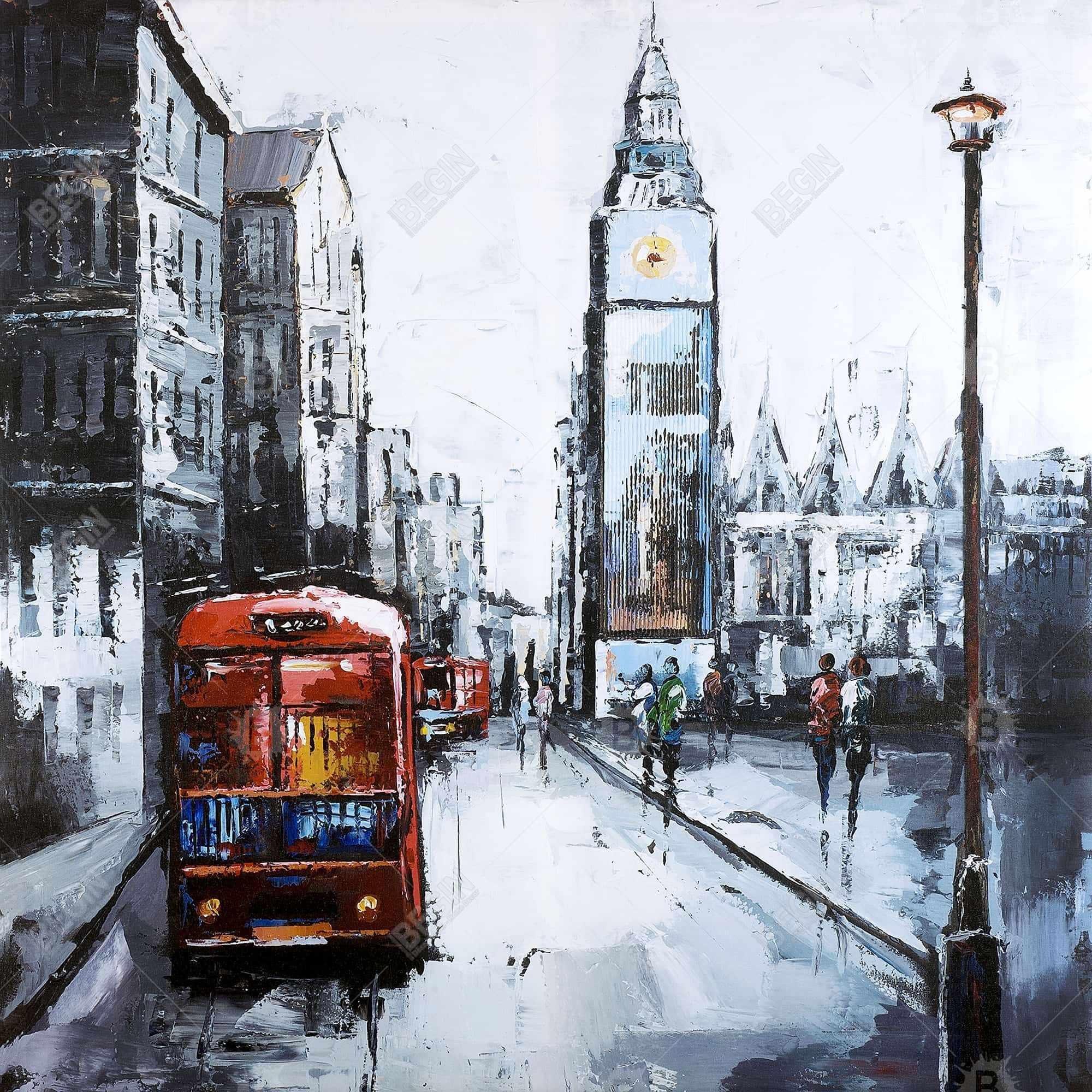 Londre abstraite et bus rouge