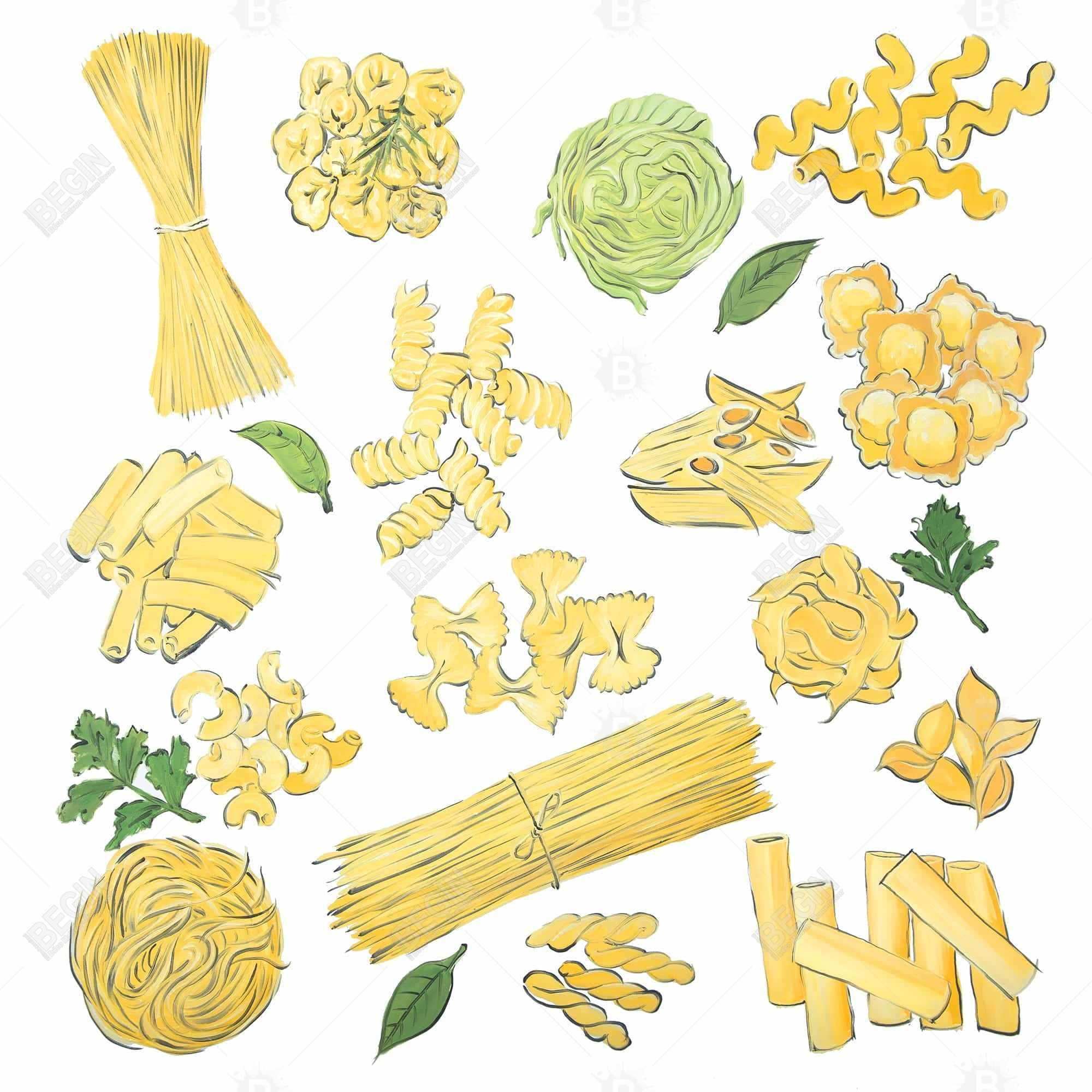 Various kind of pasta