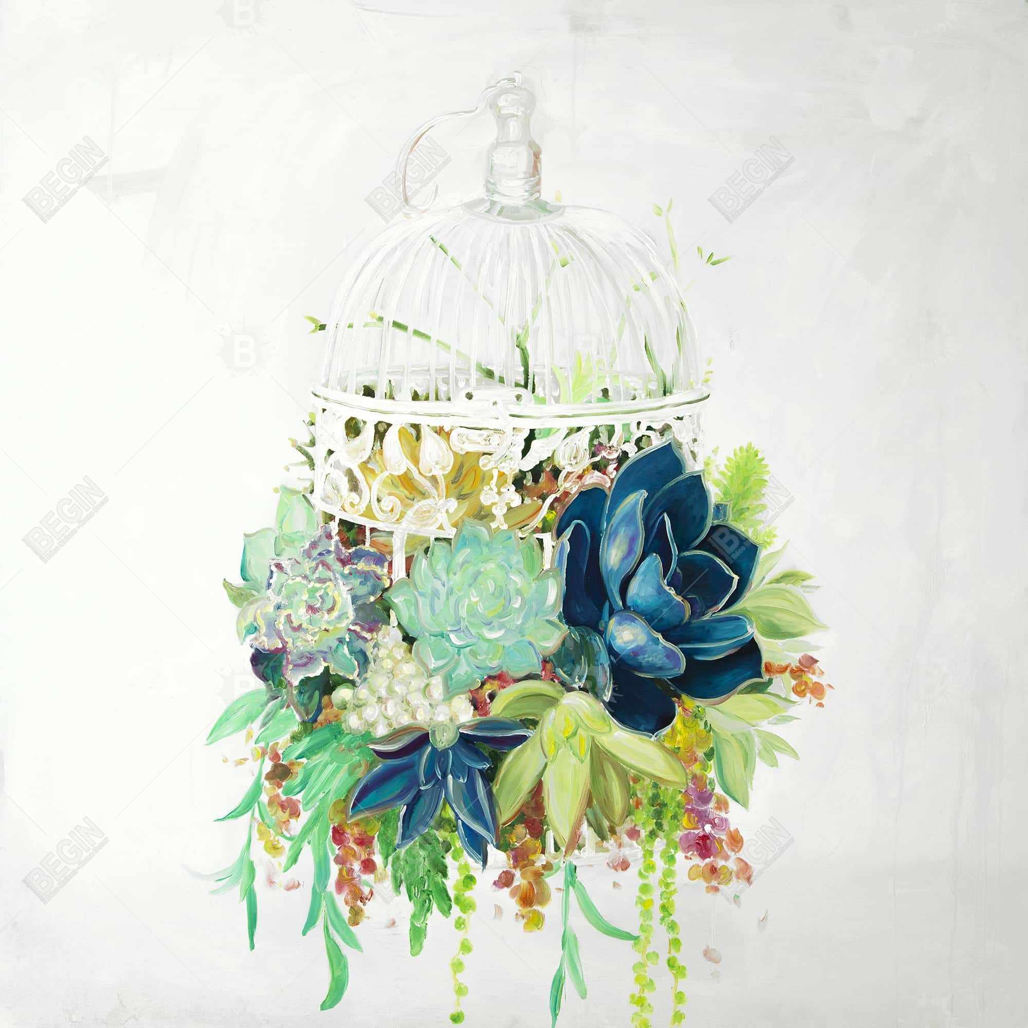 Bird cage with cactus