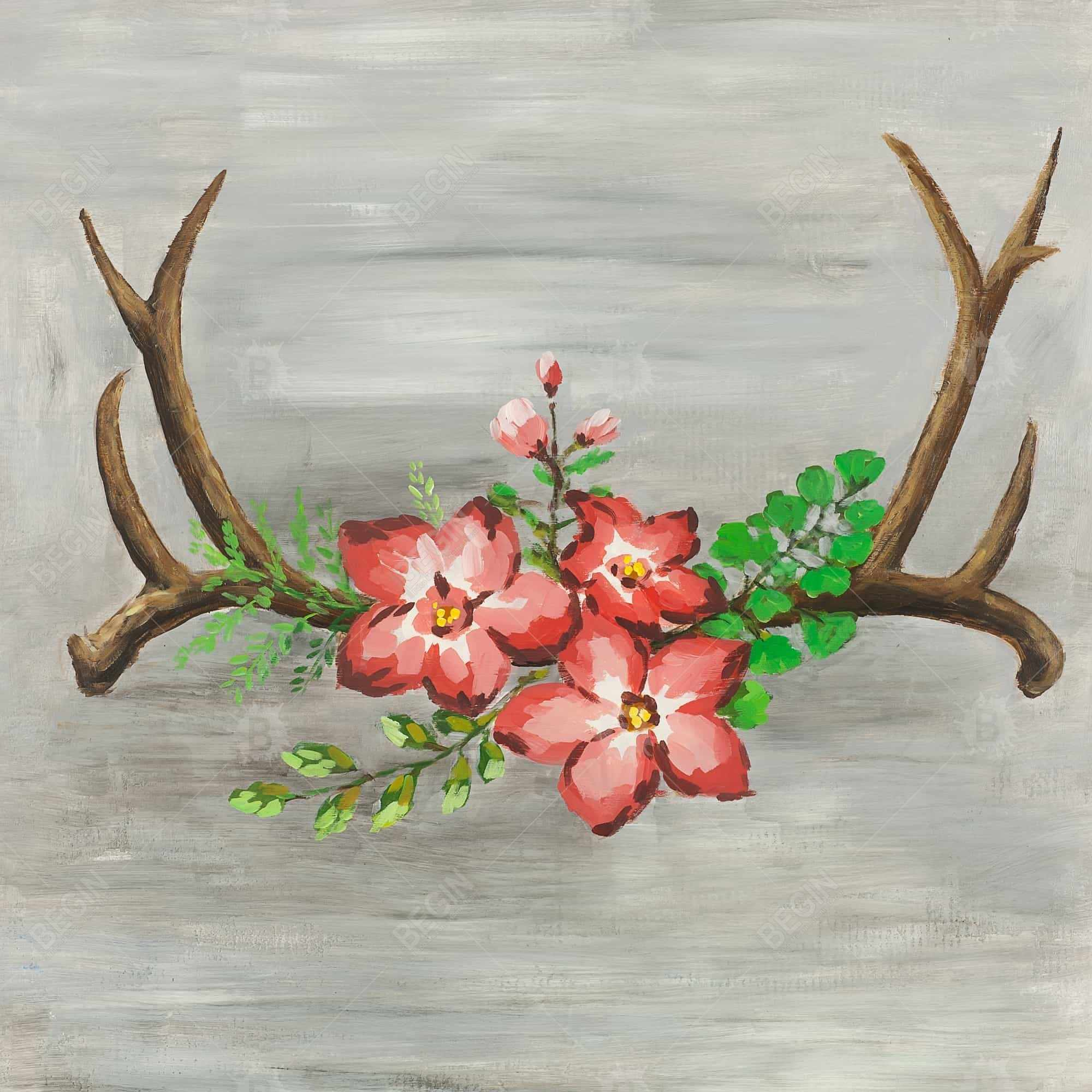Deer horns and pink flowers