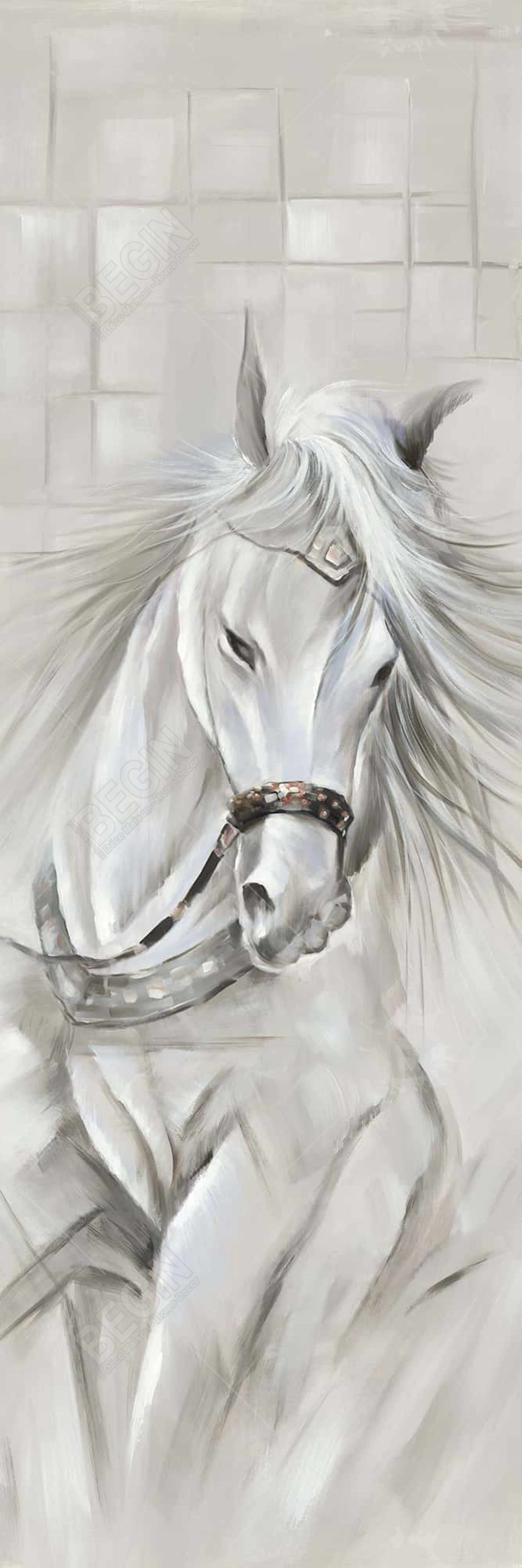 White horse with his mane in the wind