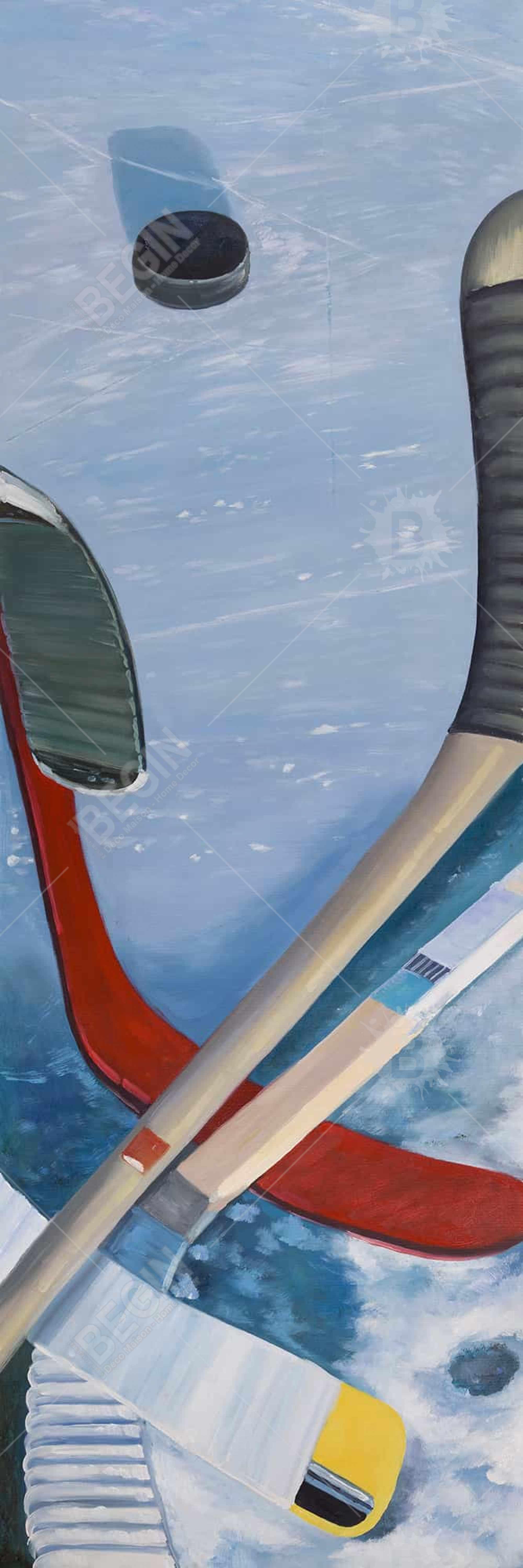 Hockey sticks on ice