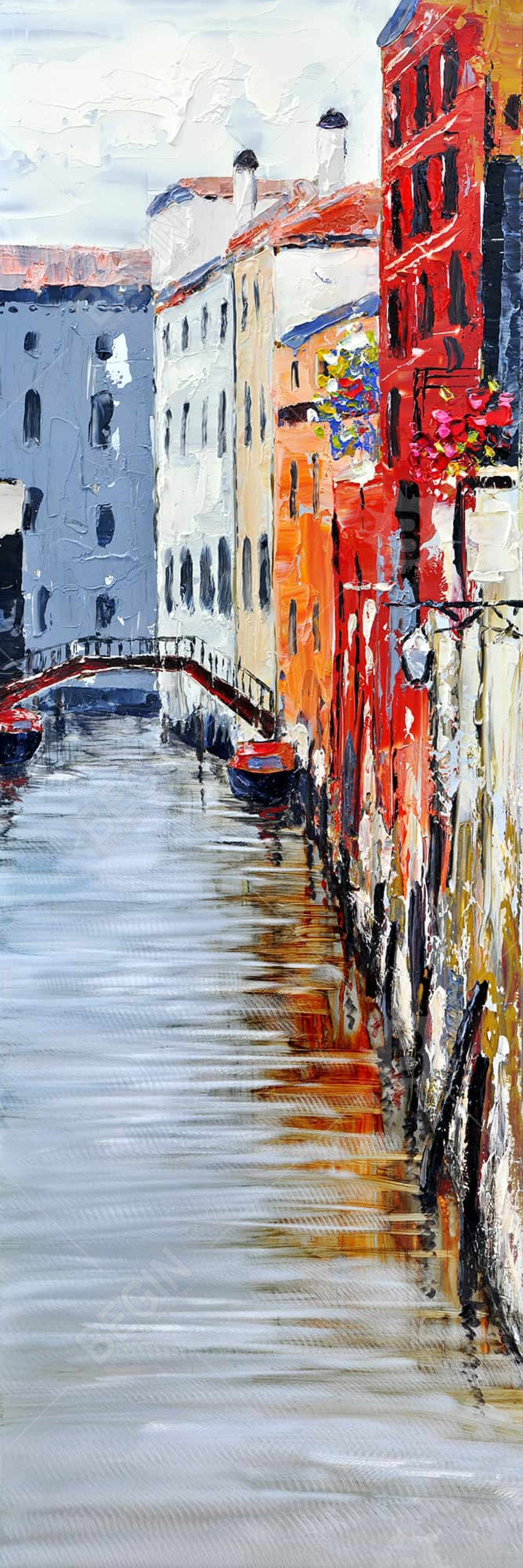 Colorful and texturized city on the water