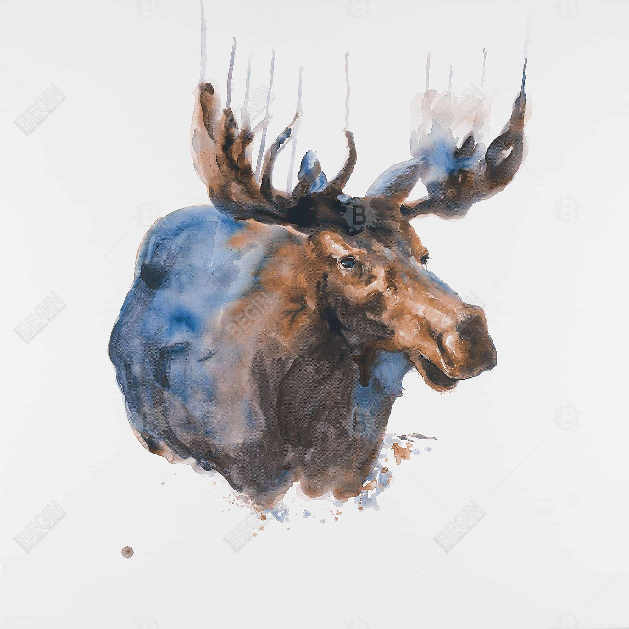 Abstract blue moose