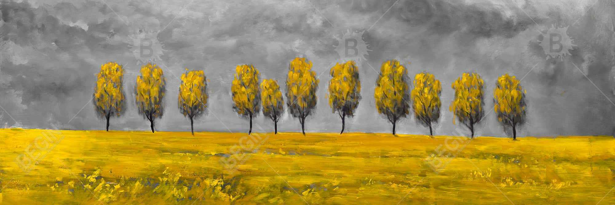 Yellow trees in a field