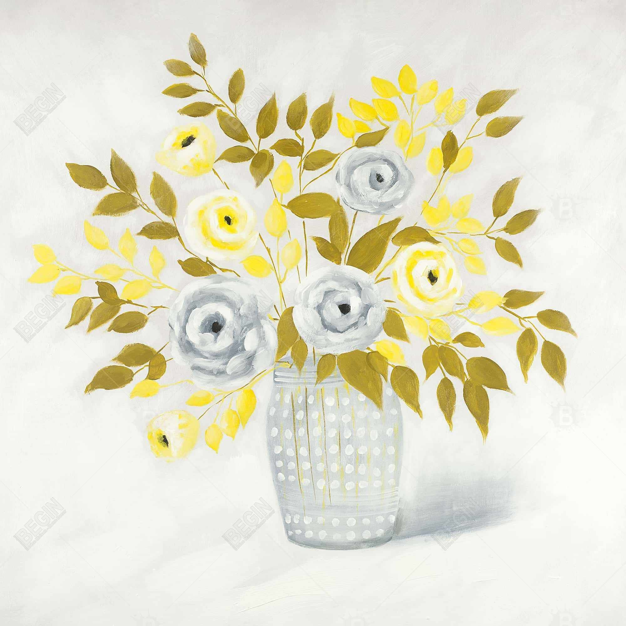 Blue and yellow flowers in a vase