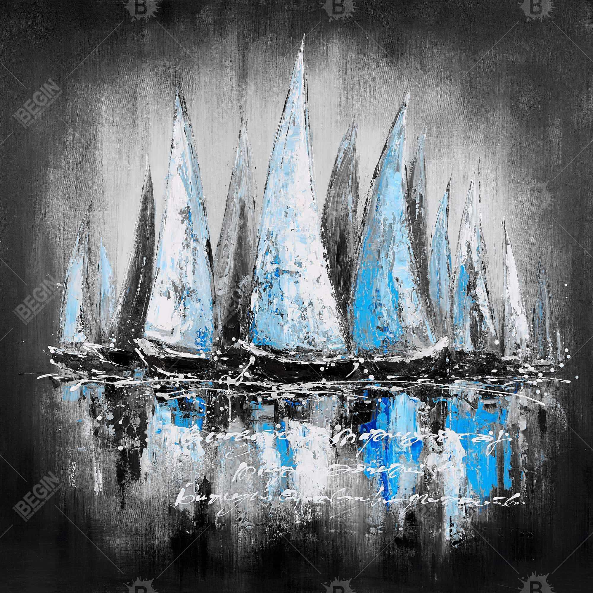 bateaux bleus avec un message manuscrit